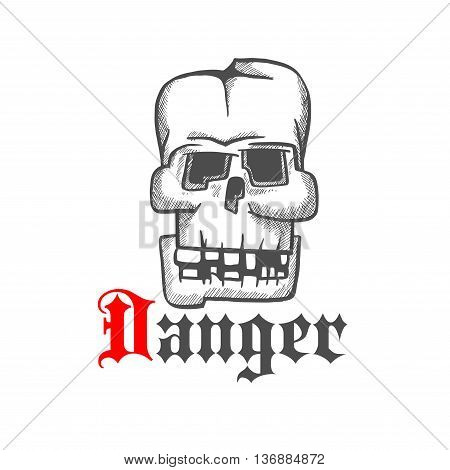 Square skull icon for tattoo or jewelry design usage with old human cranium with broken down teeth and cracked frontal bone. Vintage engraving stylized sketch