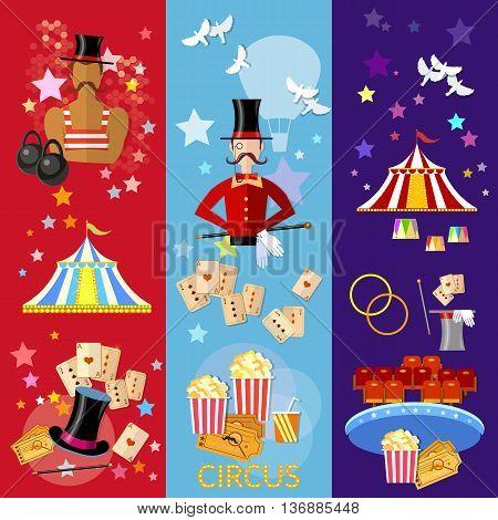 Circus banner performance strongman magician magic tricks circus show vector illustration