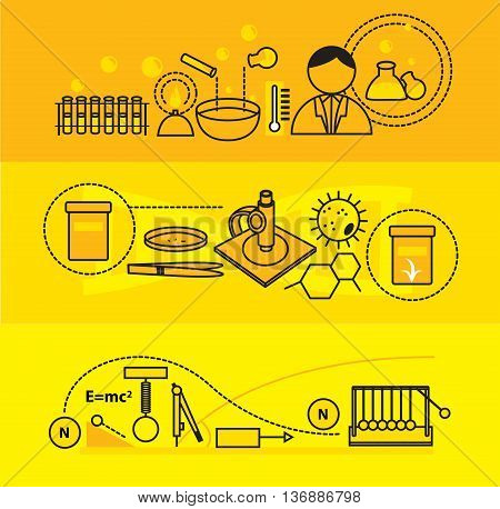 Modern science education and school subject such as physics chemistry and biology flat line design banners badge brochure flyer and background template for website and mobile website application set create by vector