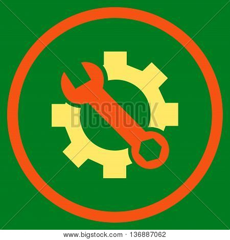 System Preferences vector bicolor icon. Image style is a flat icon symbol inside a circle, orange and yellow colors, green background.