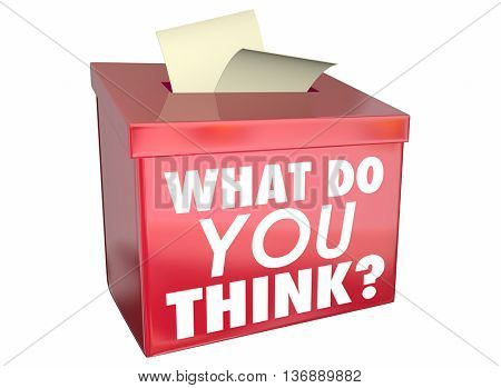 What Do You Think Opinion Share Thoughts Box 3d Illustration