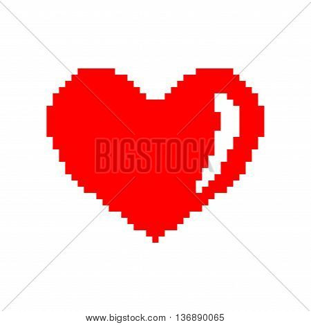 Sign pixel heart. Image of love. Red icon isolated on white background. Color romantic symbol. Logo for game. Light health content. Mark of valentine. Stock vector illustration