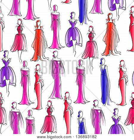 Fashion seamless background with sketch pattern of women silhouettes with elegant hairstyles, wearing blue, red and pink classic evening dresses and gowns. May be use as tailoring, sewing theme design