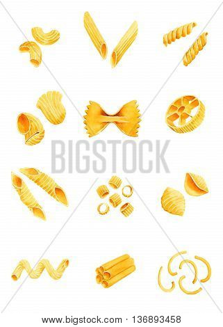 Varieties of pasta. watercolor illustration on a white