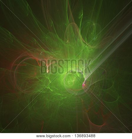 green abstract round curves and lines on black background