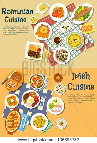 Irish stew and romanian mamaliga dishes served with grilled meat and fish, pancakes and full breakfast, cabbage rolls and corned beef, brussel sprouts and eggplant salads, thick stews and soups, sweet bread with coffee and flower lemonade. Flat style