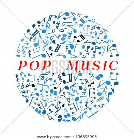 Pop music concept symbol with musical notes and treble clefs, key signatures and rests, bass clefs and chords blue icons arranged into disco ball. Use as music concert or disco party poster design usage