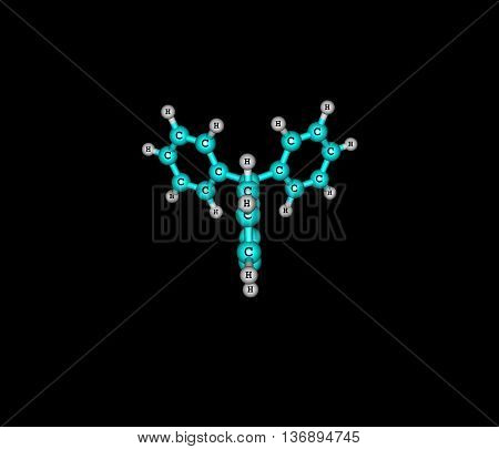 Triphenylmethyl radical is a persistent radical and the first radical ever described in organic chemistry. 3d illustration