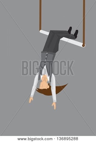 Vector illustration of a solo woman hanging upside down on acrobats swing isolated on grey background.