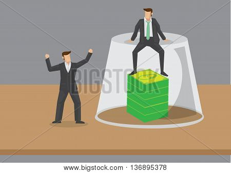Cartoon finance officer sitting on top of an inverted glass with stack of dollar notes inside preventing coworkers from other department from getting it. Creative cartoon vector illustration on financial concept.