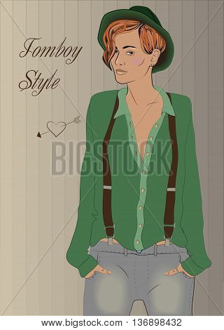 Cute hipster dyke. Girl Tomboy. Vintage fashion. Green shirt. Green hat. Gray jeans. Illustration