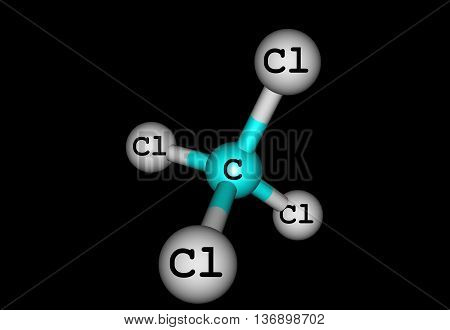 Carbon tetrachloride is the inorganic compound with the formula CCl4. It was formerly widely used in fire extinguishers as a precursor to refrigerants and as a cleaning agent. 3d illustration poster