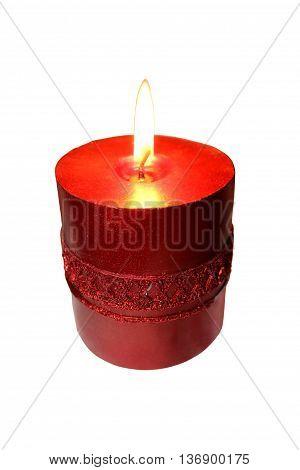 Burning festive candle isolated on white background.