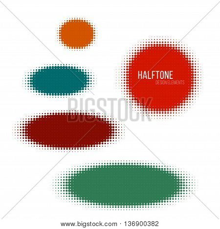 color halftone design elements. Stock vector illustration