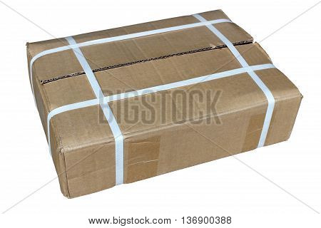 A cardboard box packed in isolation on a white background.