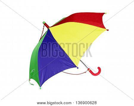 Multicolored child umbrella on a white background. Clipping.