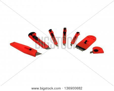 A set of stationary blades on a white background
