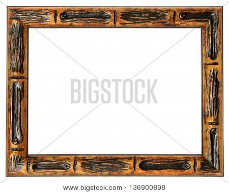 Wood frame in a retro style for the paintings in isolation on a white background.