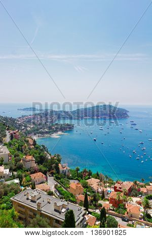 landscape of riviera bay and turquiose water of cote dAzur at sunny summer day, France
