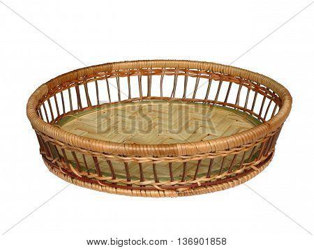Straw Vase of bread on a white background isolated.