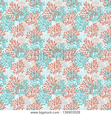 Seamless pattern with red and blue corals. Sea background. Vector illustration.