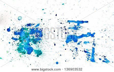 Green bluea watercolour splatter. Blue ink spot blotch isolated. Beautiful watercolor smudges poster