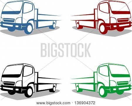 logo transport small truck with multi color silhouette