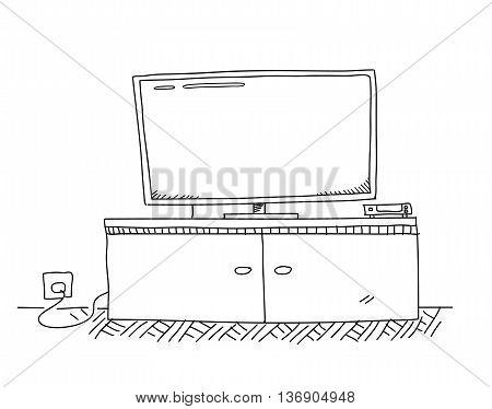 Smart TV HDTV Set Doodle, a hand drawn vector doodle illustration of a smart HDTV set.