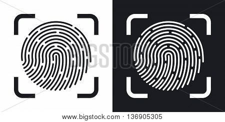 Vector Fingerprint Scanning Icon. Two-tone Version Of Fingerprint Scanning Simple Icon On Black And