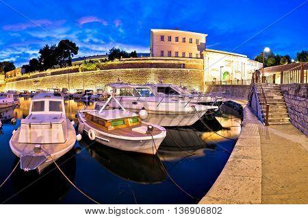 Zadar city walls and Fosa harbor evening panorama Dalmatia Croatia