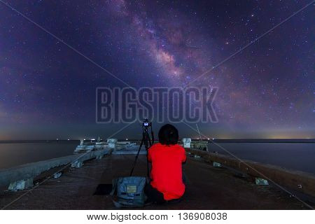Unidentified photographer take the photo of milky way