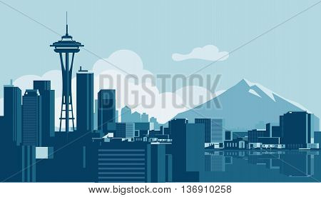 Vector skyline of the city of Seattle