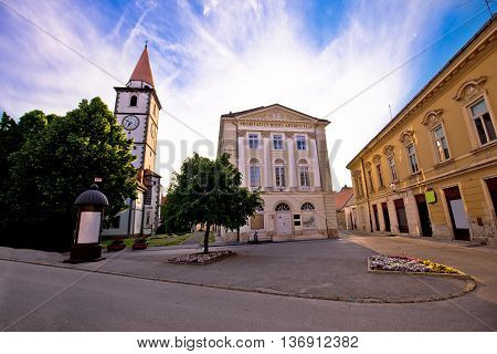 Town of Varazdin church and square northern Croatia
