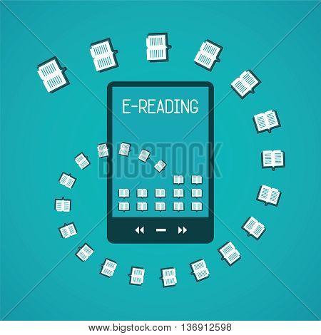 E-reader gadget vector concept in flat style.