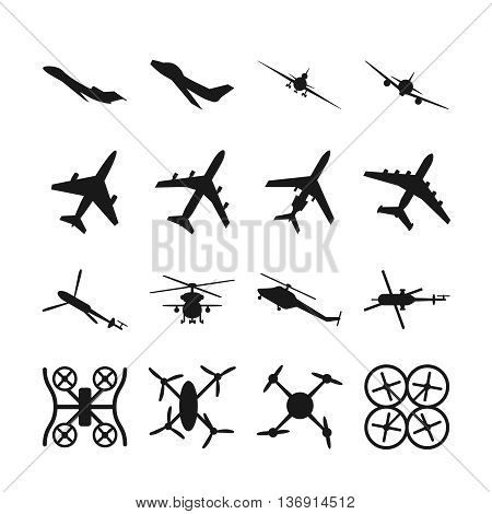 Aircrafts, helicopters, drones black vector icons. Set of aircraft quadrocopte and helicopter. Military aircraft illustration