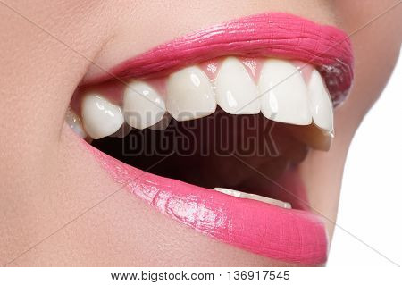 Macro Happy Woman's Smile With Healthy White Teeth, Pink Lips