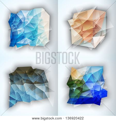 Multicolor Design Templates. Geometric Triangular Spot Abstract Modern Background. Crystal Jewelry Gem. Vector Illustration set.