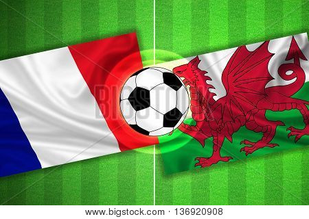 green Soccer / Football field with stripes and flags of france - wales and ball - 3d illustration
