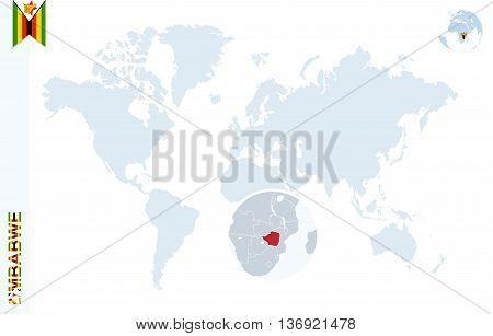 Blue World Map With Magnifying On Zimbabwe.