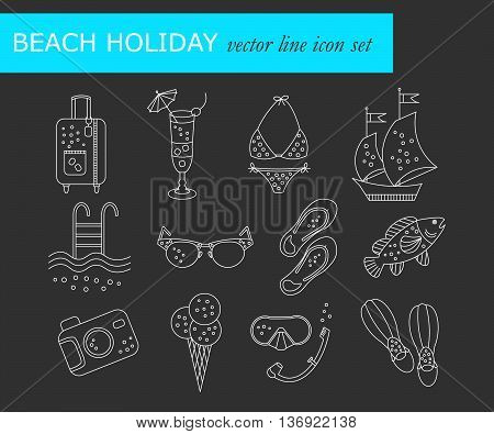 Beach holiday vector line icons. Thin liner vector icons summer vacation. Flippers, step-ins, mask, cocktail, suitcase, sailboat, swimsuit, ice cream, sunglasses fish camera pool