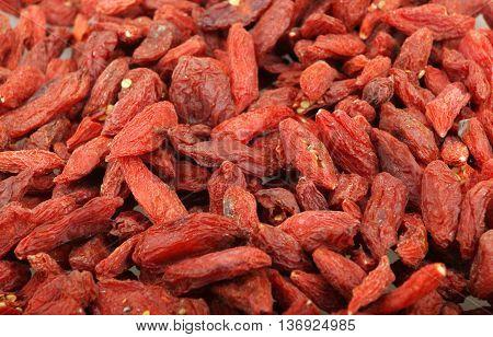 Background Of Dried Goji Berries Stock Photos