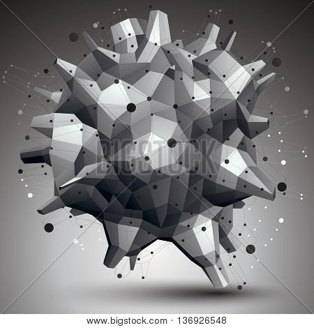 Spatial technological contrast shape polygonal single color wireframe object.
