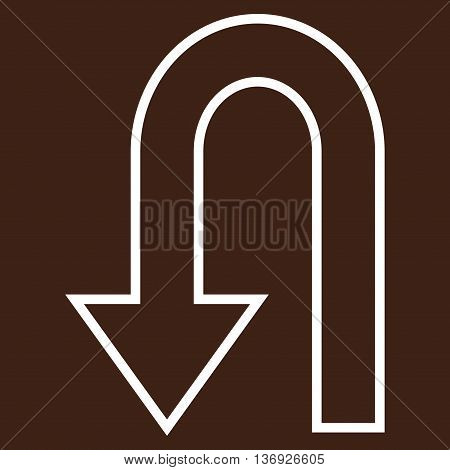 Return Arrow vector icon. Style is stroke icon symbol, white color, brown background.