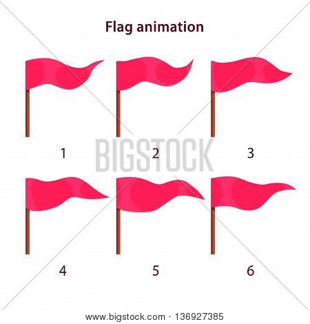 Red triangle shape flag waving animation sprites on white background, vector animation frames for game design poster