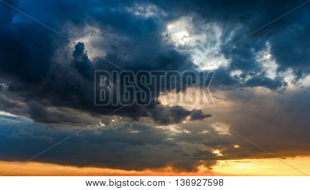 sun shining through the stormy clouds god rays sky background