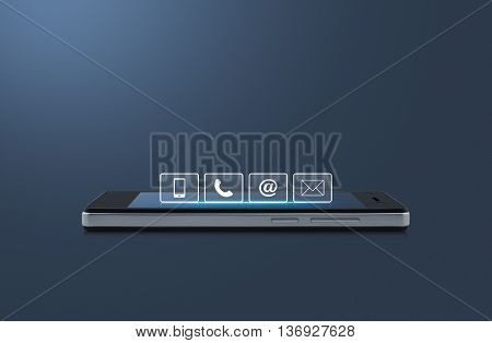 Telephone mobile phone at and email buttons on modern smart phone screen over light blue background Customer support concept