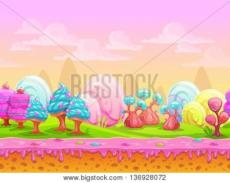 Cartoon fantasy candy land location, sweet world, seamless background with separated layers for parallax effect in game design, vector illustration poster