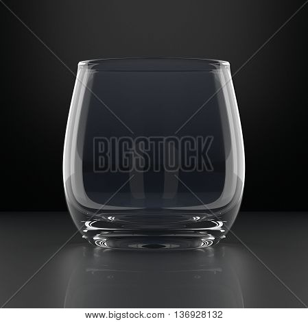 Empty Water Glass on black background. Drinking glassware. 3D illustration.