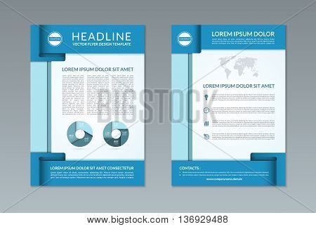 Flyer brochure design template. A4 size. Front and back page. Vector layout with business icons and infographic elements. Can be used for handbill, booklet, catalog, annual report, presentation etc.