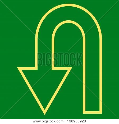 Return Arrow vector icon. Style is contour icon symbol, yellow color, green background.
